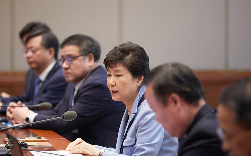 박대통령, 20일 수석비서관회의 주재 모습<사진=청와대>