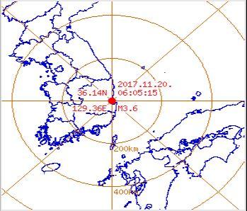 11월20일 06시 05분 포항 3.6 지진