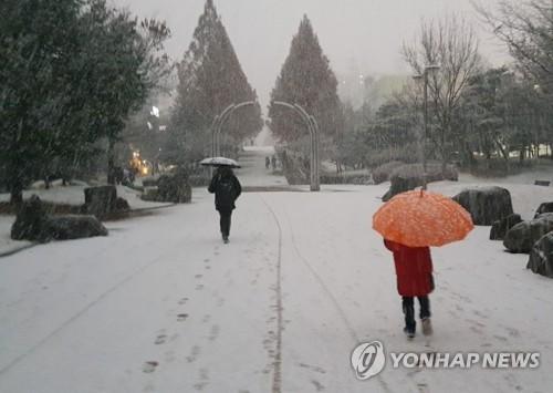 눈 내린 공원 <사진=연합뉴스>