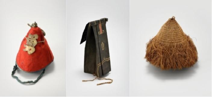 함부르크 민족학박물관의 조선 모자. 왼쪽부터 군뢰복다기, 진현관, 송낙. [문화재청 제공]