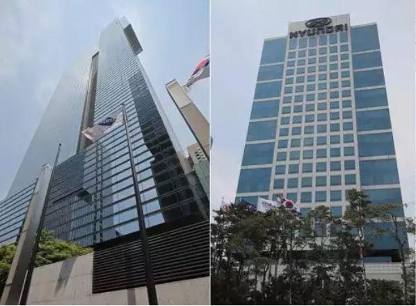 삼성전자(왼쪽), 현대자동차 본사 건물