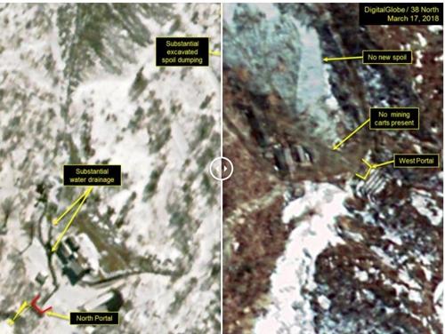 이달 2일(왼쪽)과 17일 풍계리 핵실험장 북쪽 갱구와 서쪽 갱구 일대 38노스 위성사진 캡처 <사진=연합뉴스>