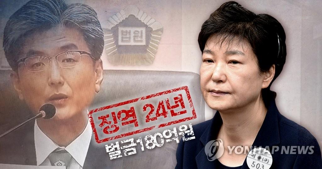 박근혜, 1심에서 징역 24년에 벌금 180억원<사진=연합뉴스>