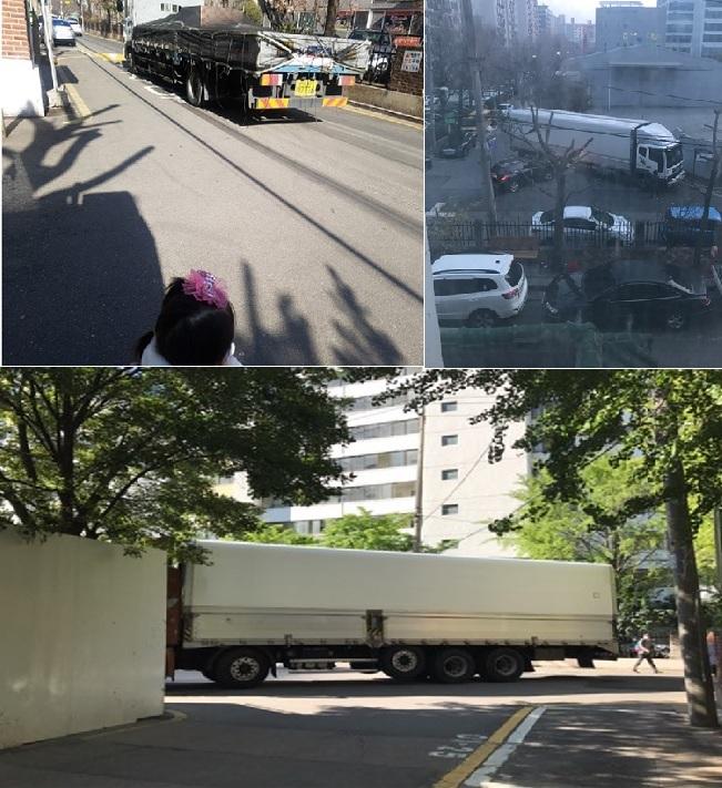 화물차 위험에 노출된 아이들과 아파트 단지 앞길을 가로막은 화물트럭<사진=주민 제보>