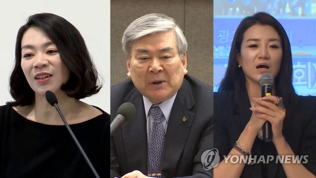 조현아(맨 왼쪽부터), 조양호, 조현민 <사진=연합뉴스>