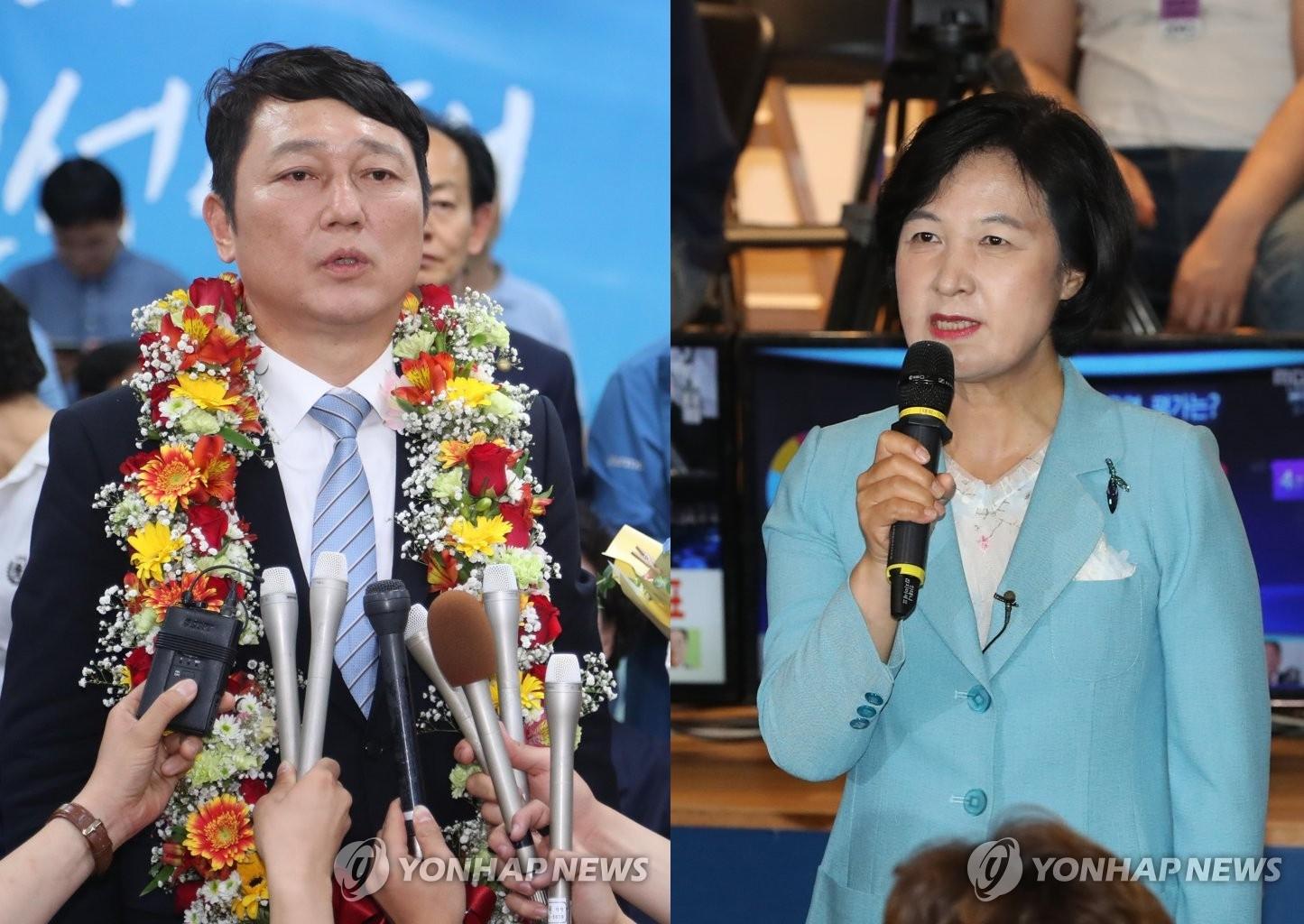 추미애 더불어민주당 대표· 최재성 서울 송파구을 국회의원 당선인 <사진=연합뉴스>