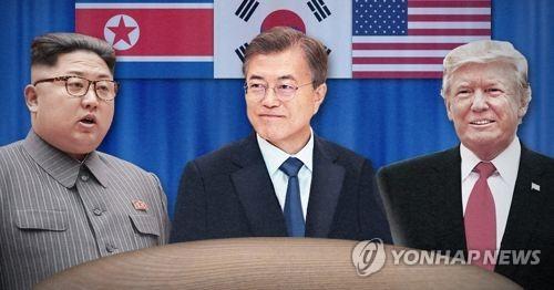 문재인 대통령(중)과 김정은 국무위원장(좌) 트럼프 미국 대통령(우)<사진=연합뉴스>