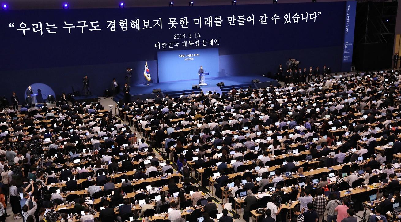 문재인 대통령, 평양정상회담 대국민 보고 <사진 = 평양사진공동취재단>
