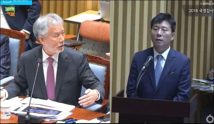 유민봉 자유한국당 의원(왼쪽)과 김태호 서울교통공사 사장