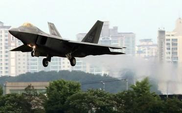 연합훈련 참가한 F-22 전투기 <사진=연합뉴스>