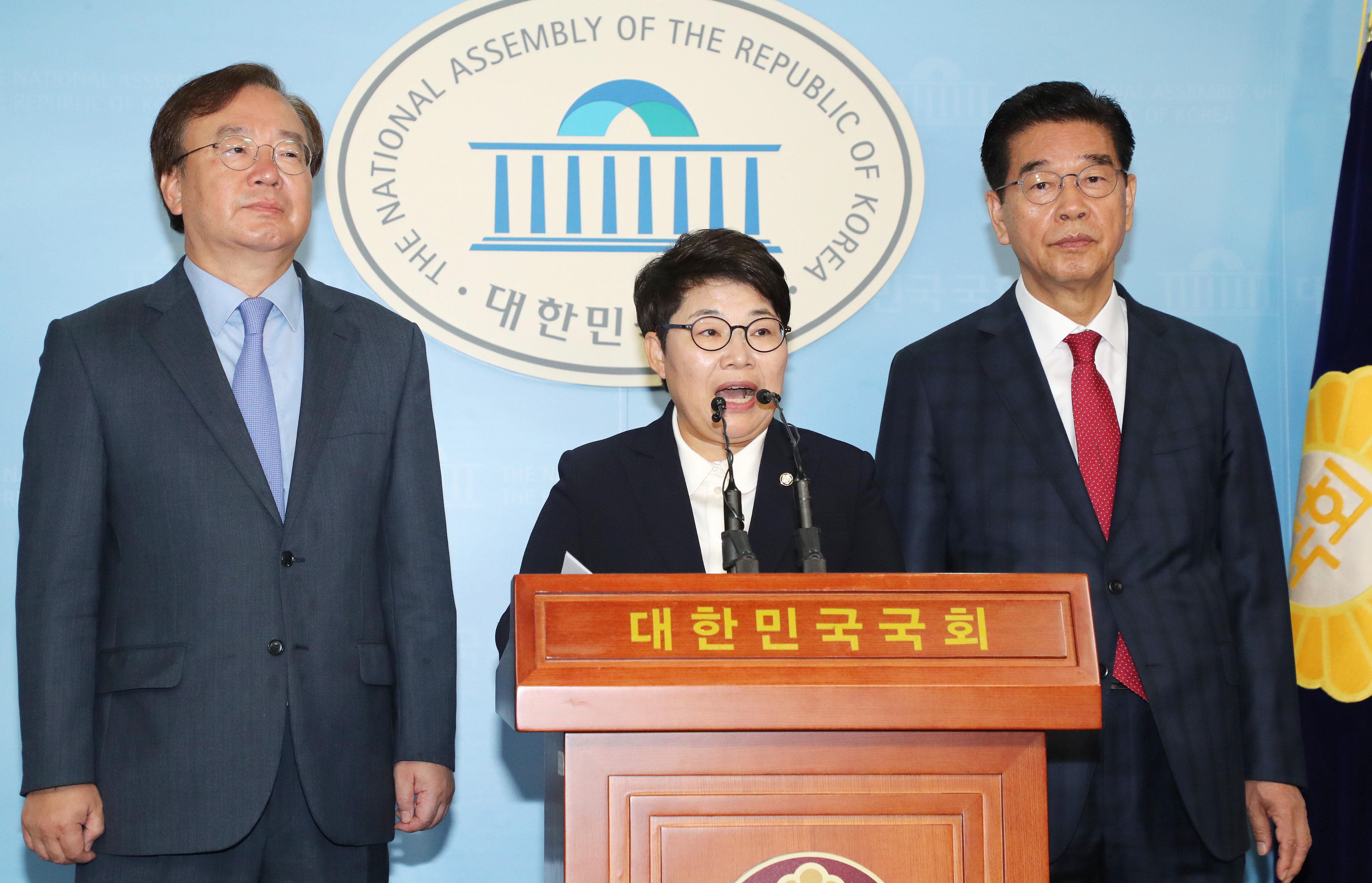 조명래 환경부장관 후보자 사퇴 촉구 기자회견 <사진=연합뉴스>