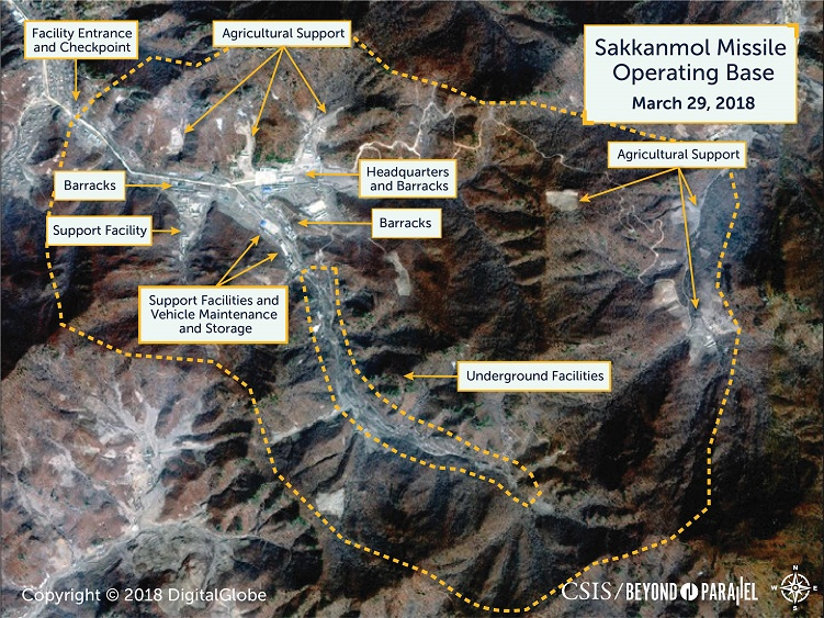 A commercial satellite imagery of Sakkanmol base for short-range ballistic missiles <Image: Yonhap News>