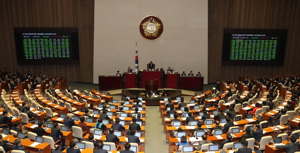 Govt budget bill for next year passes parliament early Saturday. <Photo: Yonhap News>