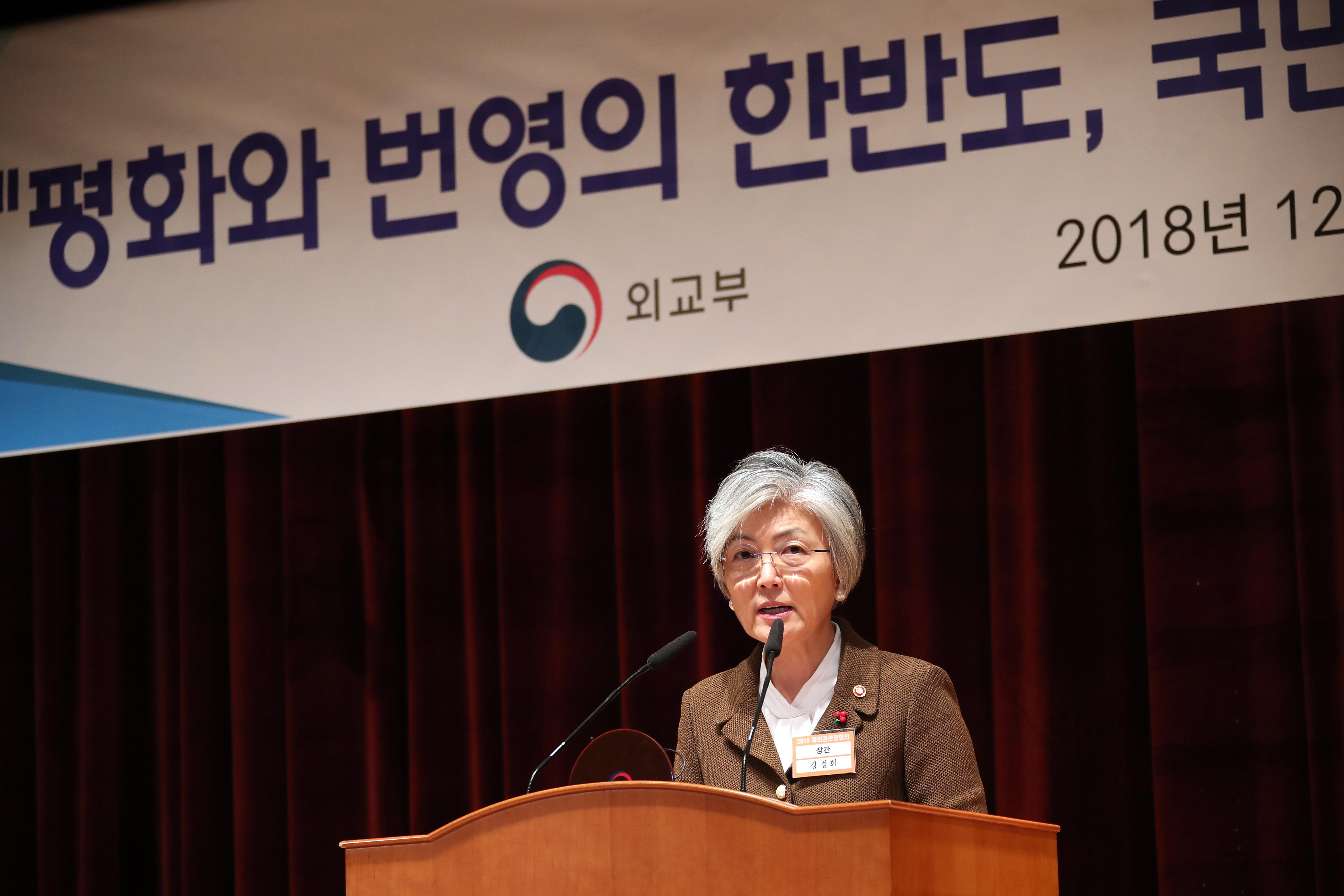 발언하는 강경화 외교부 장관<사진=연합뉴스>