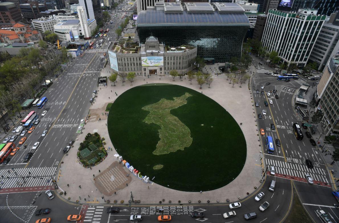 서울광장에 조성된 한반도 모양 꽃밭<tbs 자료사진>