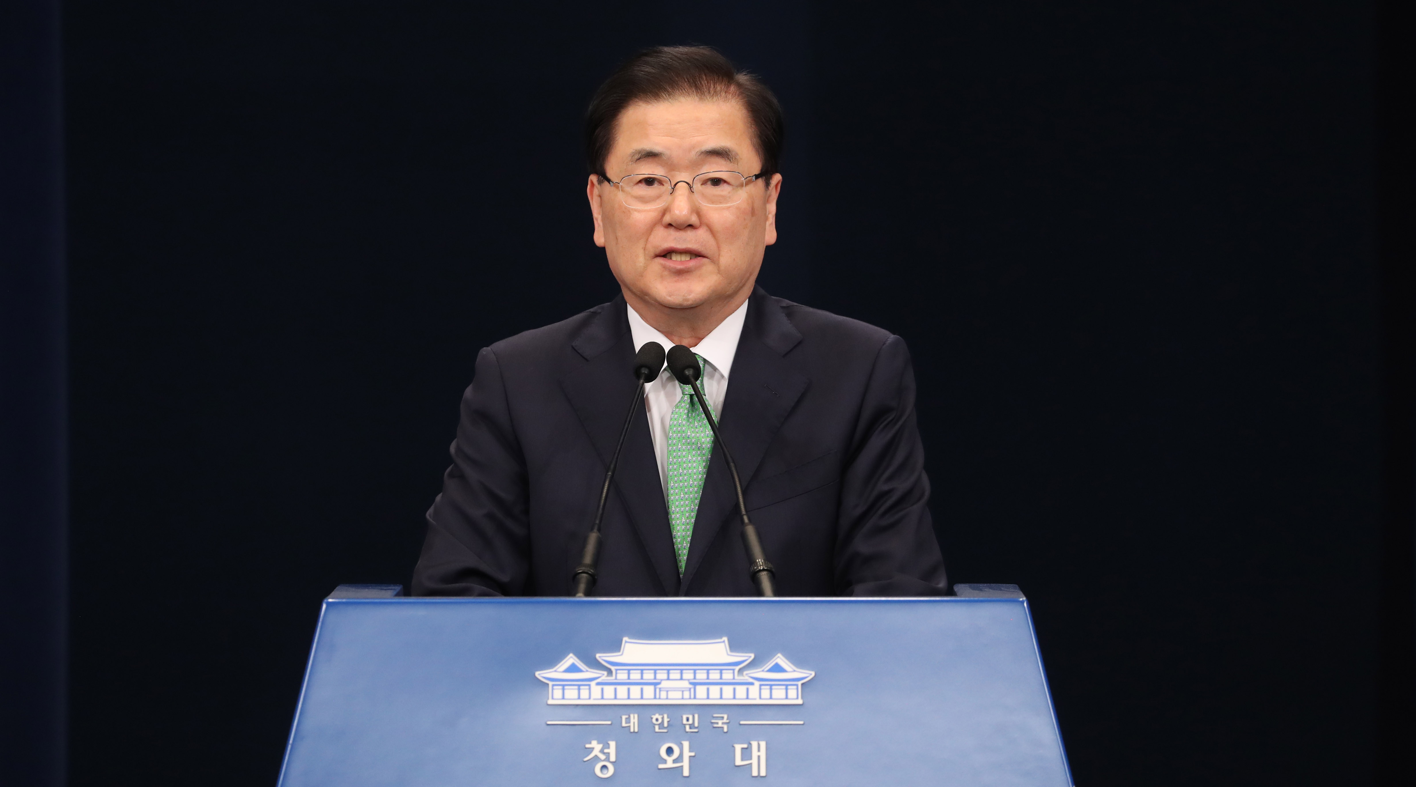 National Security Advisor Chung Eui-yong announces the release of a South Korean man who was abducted in Libya in 2018. <Photo: Yonhap News>