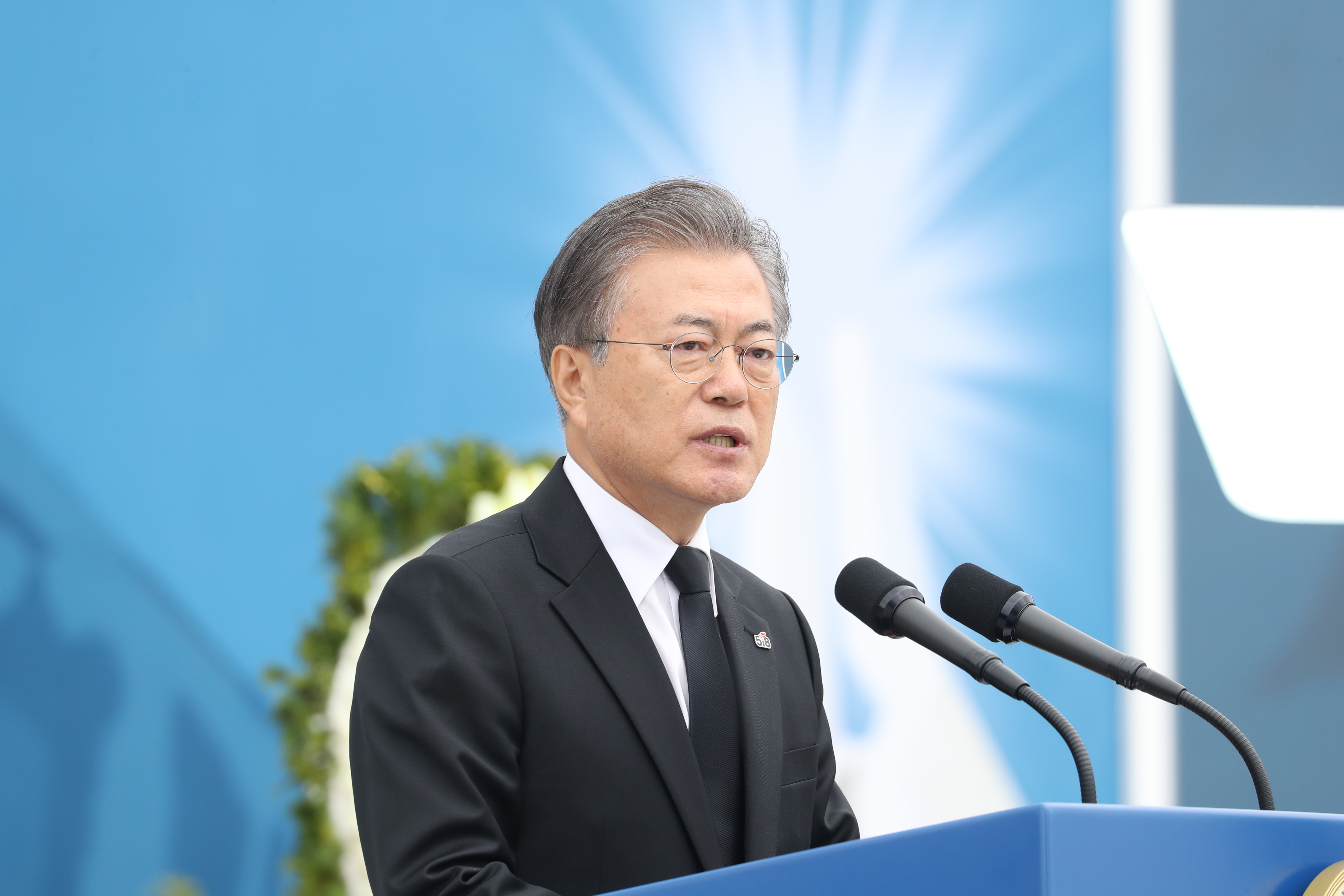 President Moon Jae-in speaks during the memorial event to commemorate the 39th anniversary of the May 18 Gwangju Uprising at the May 18th National Cemetery <Photo: Yonhap News>
