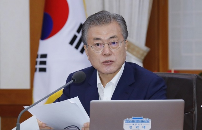 President Moon Jae-in speaks during a Cabinet meeting at the presidential office. <Photo: Yonhap News>