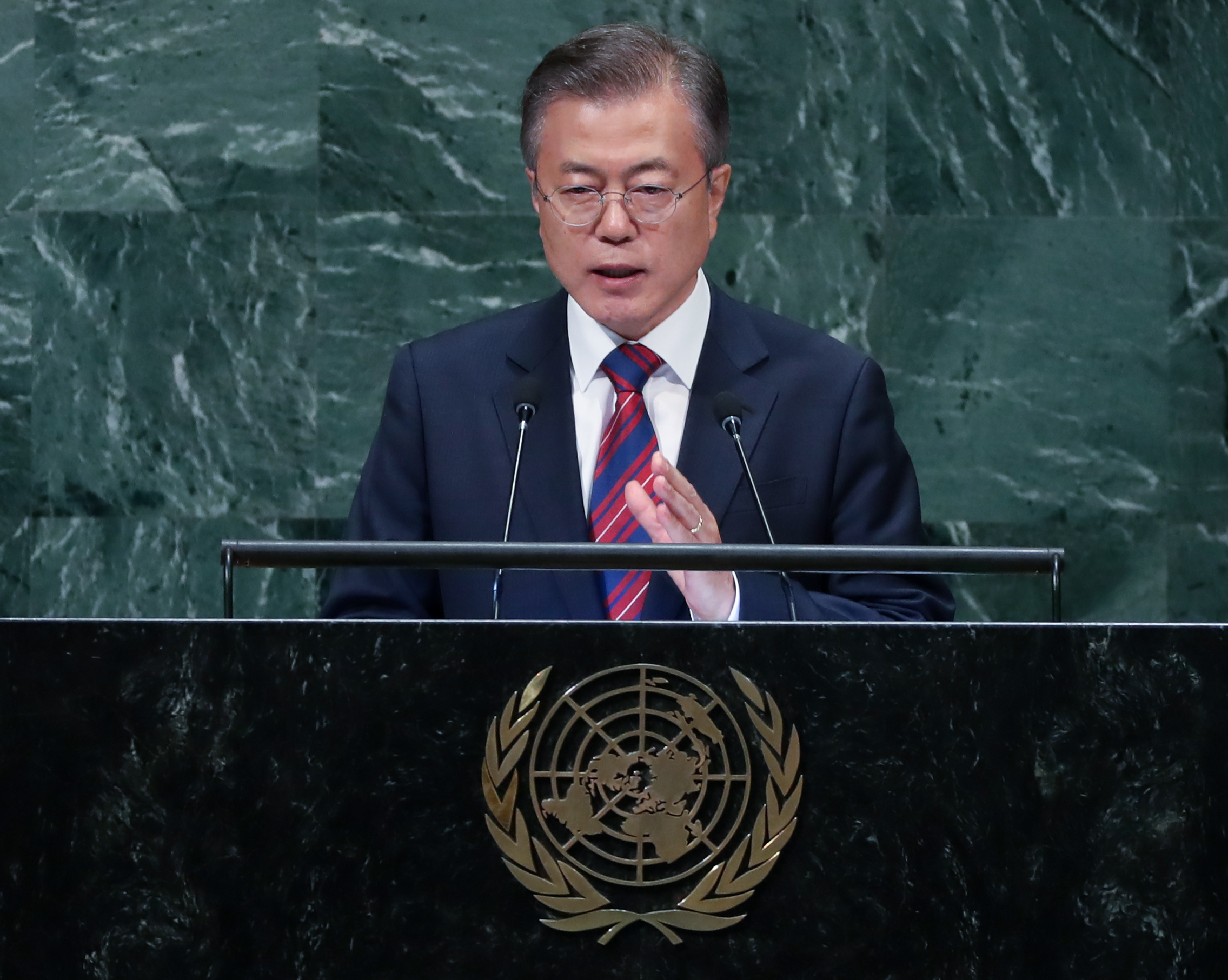 President Moon Jae-in addresses the United Nations General Assembly on September 26, 2018. <Photo: Yonhap News>