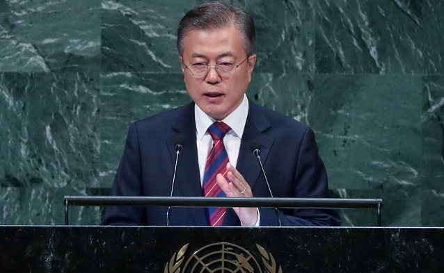 President Moon Jae-in delivers a speech at the U.N. General Assembly session in New York on Sept. 27, 2018.<Photo: Yonhap News>