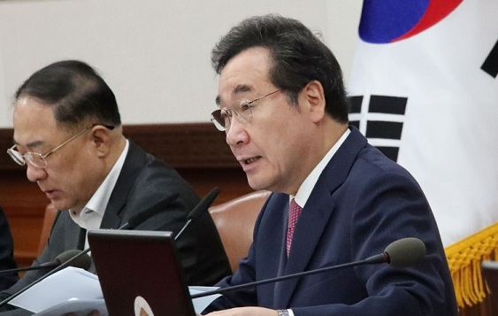 Prime Minister Lee Nak-yon speaks during a Cabinet meeting on October 1, 2019. <Photo: Yonhap News>