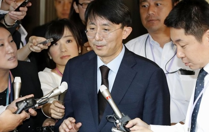 Kim Jung-han, director-general for Asian and Pacific affairs at South Koreas foreign ministry, speaks to the press after holding talks with his Japanese counterpart Shigeki Takizaki at Japans foreign ministry in Tokyo on Sept. 20, 2019, in this photo provided by Kyodo News.<Photo: Yonhap news>