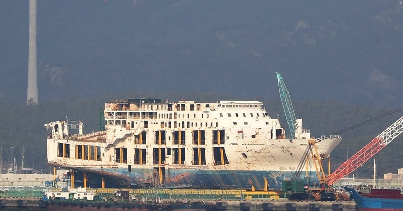 The salvaged Sewol ferry stands upright at a port in Mokpo. <Photo: Yonhap News>