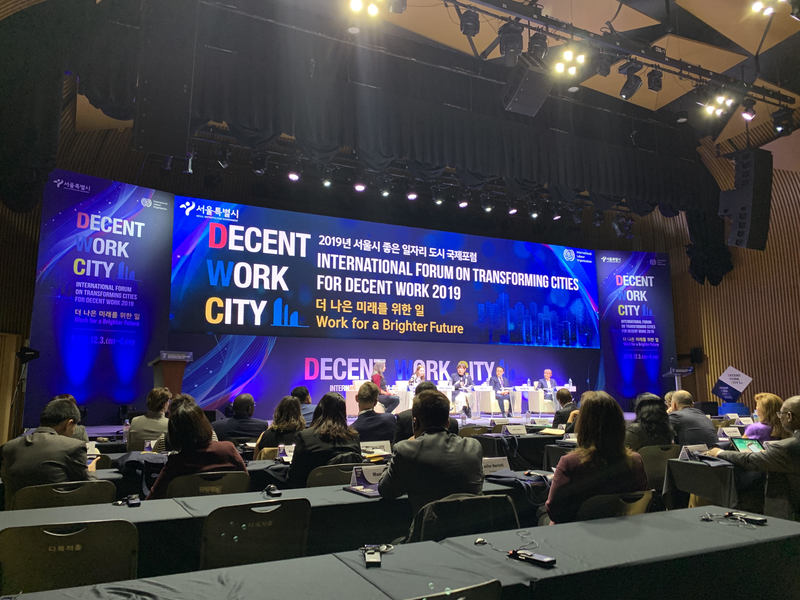 International Forum on Transforming Cities for Decent Work opens at Seoul City Hall.