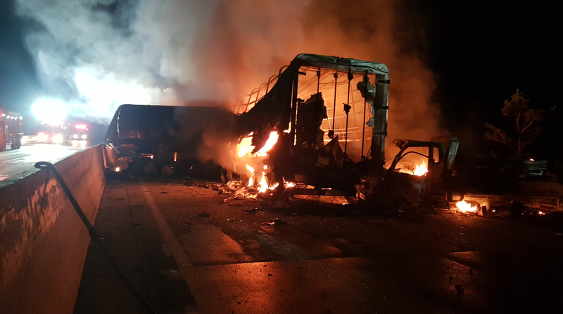 Vehicles go up in flames after a pile-up on the Sangju-Yeongcheon Expressway.