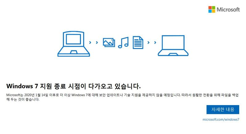 Microsoft Korea announcing an end to Windows 7 support
