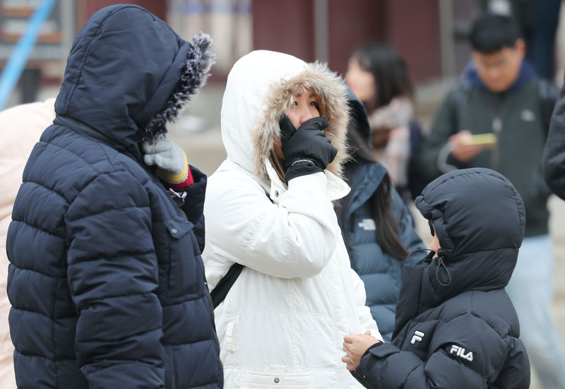 Citizens bundled up due to the cold