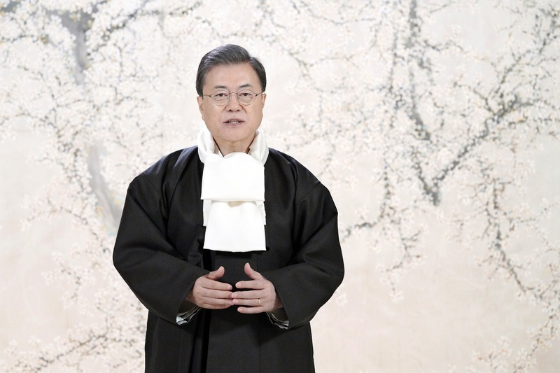 President Moon delivers a video message through his social media accounts ahead of the Lunar New Year holiday