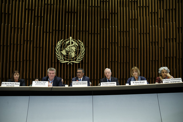 WHO Director- General Tedros Adhanom Ghebreyesus and others at media briefing on COVID-19 outbreak, February 12