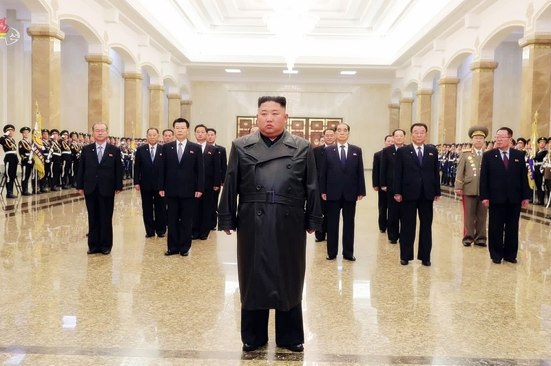 North Korean leader Kim Jong-un at the Kumsusan Palace of the Sun