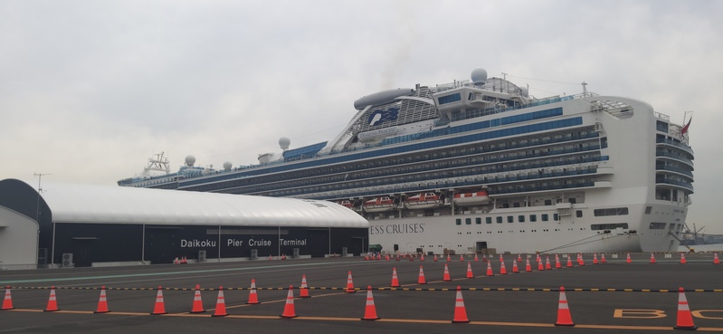 Diamond Princess cruise ship docked in Yokohama