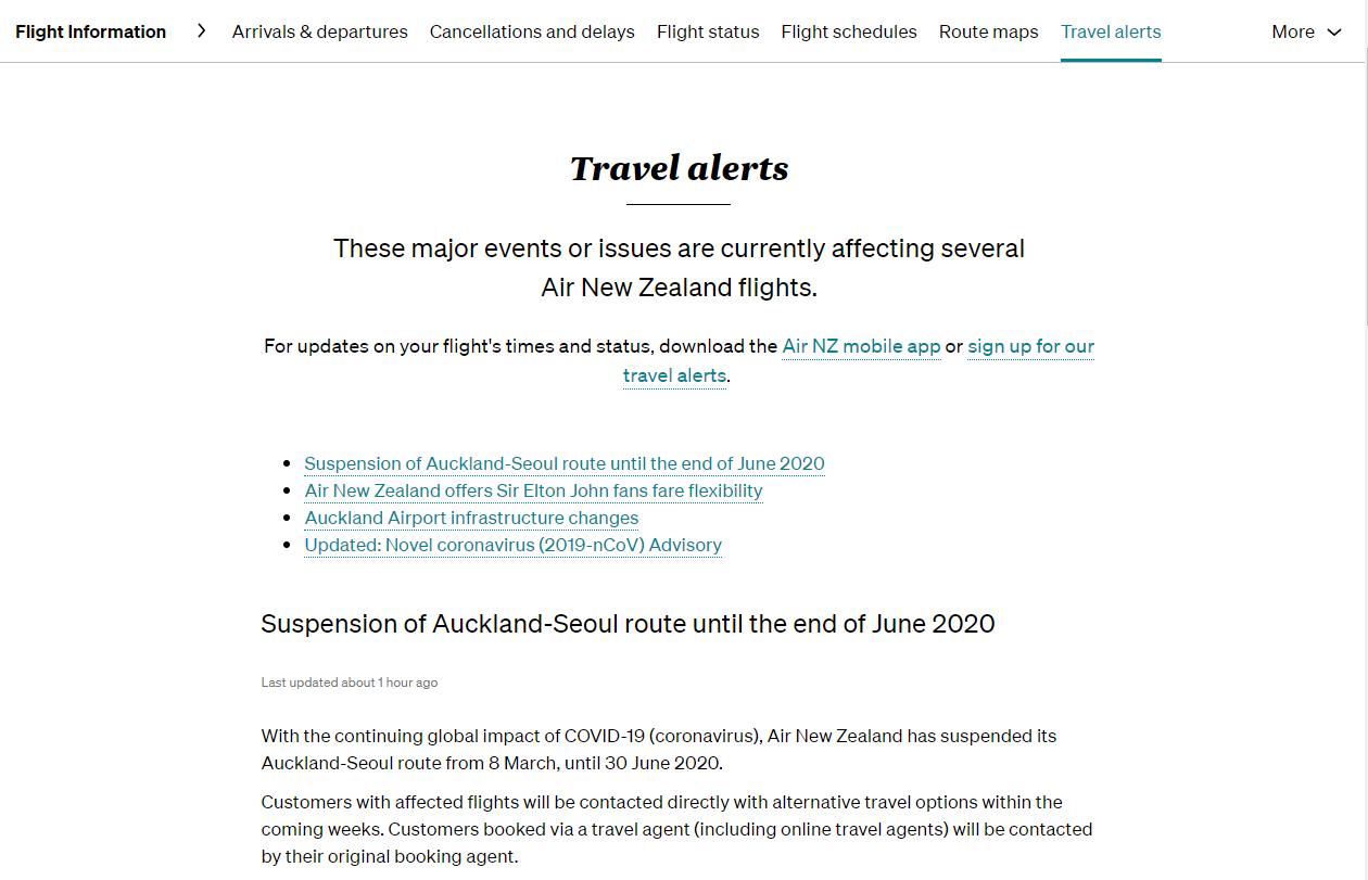 Screenshot from Air New Zealand website
