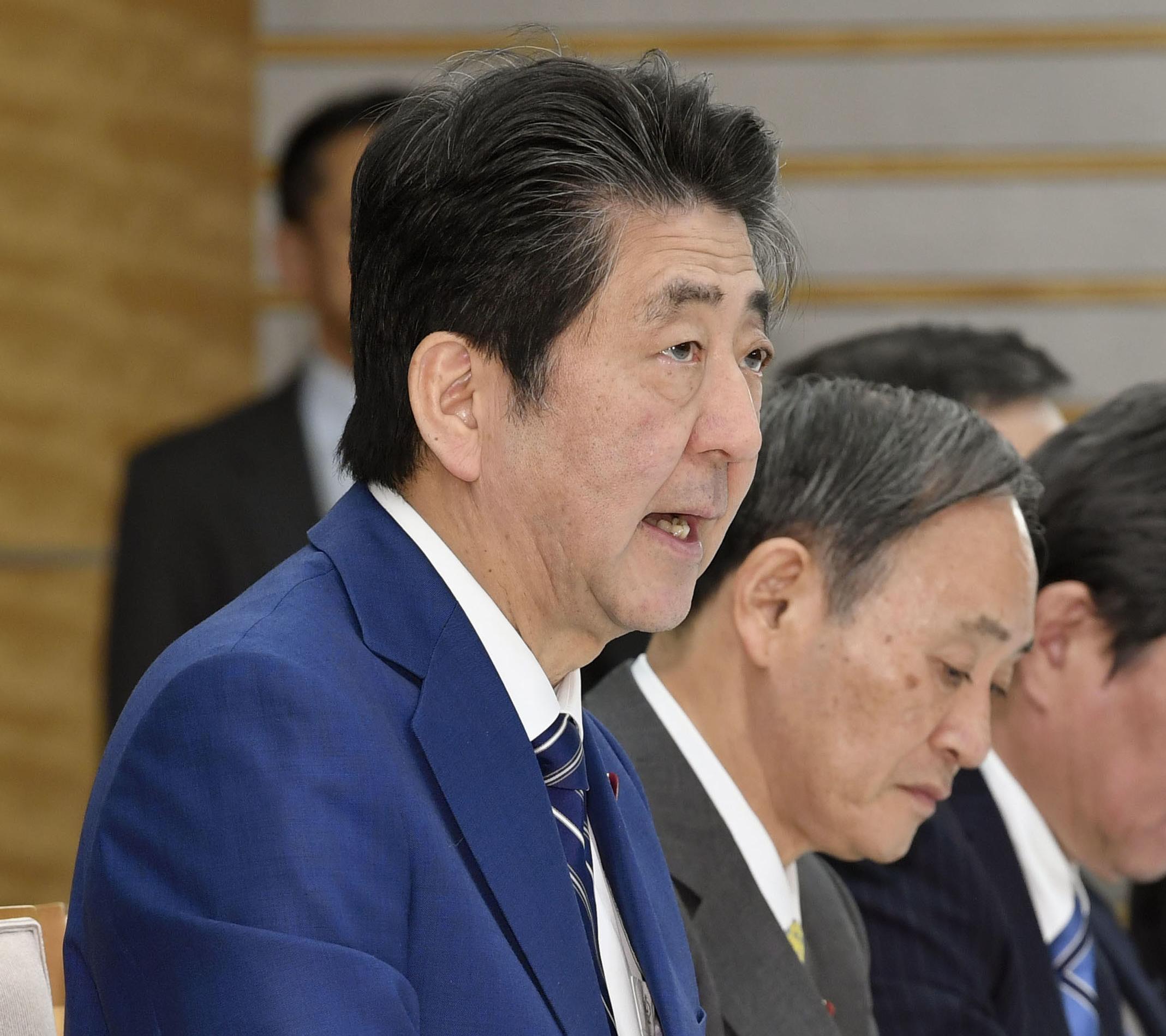 코로나19 대책회의 주재하는 일본 아베 신조 총리
