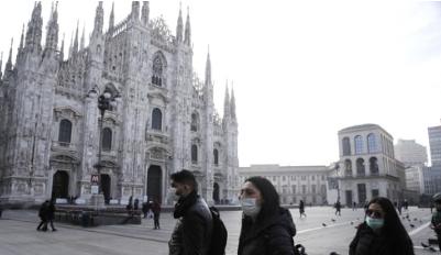 코로나19로 한산한 이탈리아 밀라노 두오모 성당 주변