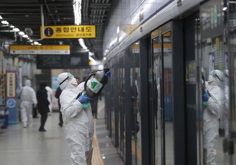 Seoul Metro has been disinfecting the train and station building where confirmed patients are known to have passed
