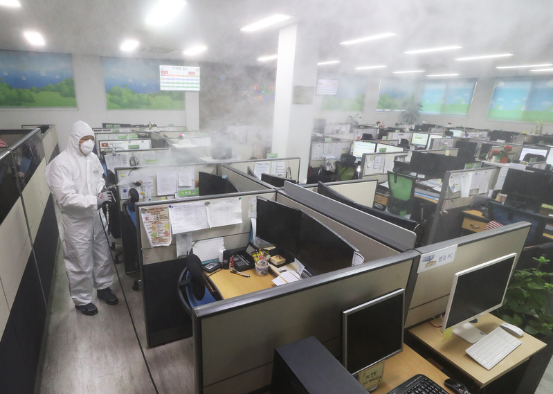 A call center being disinfected