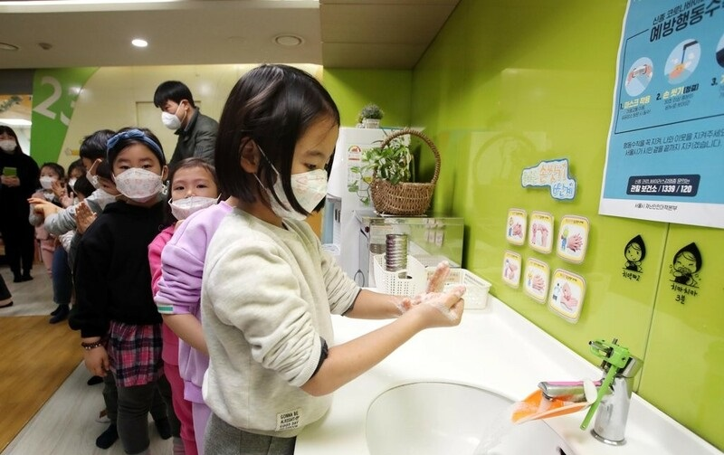 Kids learn how to wash hands properly