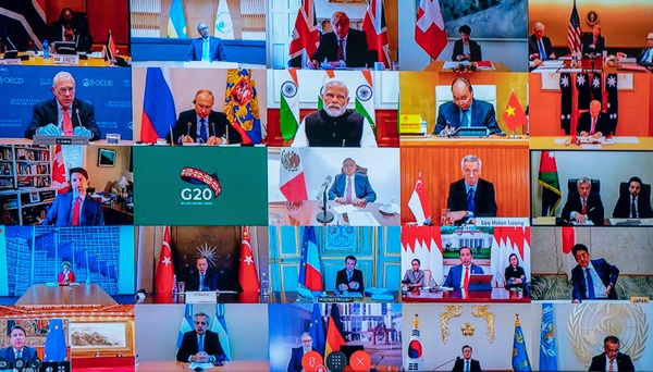 Photo of a television screen taken during a G20 leaders video conference, March 26