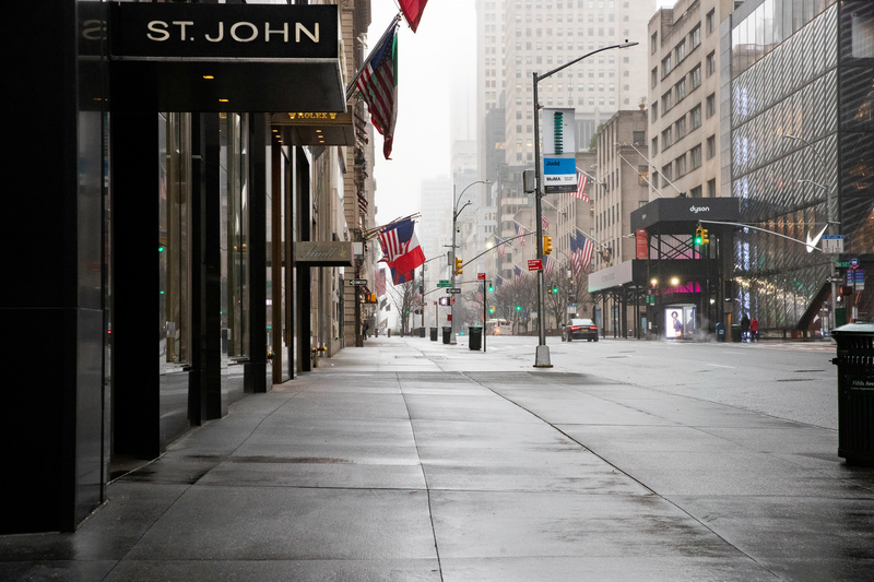 Empty 5th Avenue in New York City