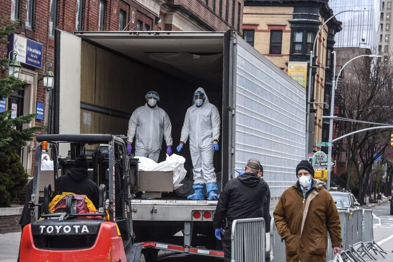 Refrigerator trucks are being used as makeshift morgues in New York.