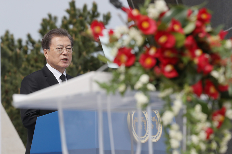 President Moon speaks at a ceremony paying tribute to victims of the April 3 Jeju uprising and massacre.