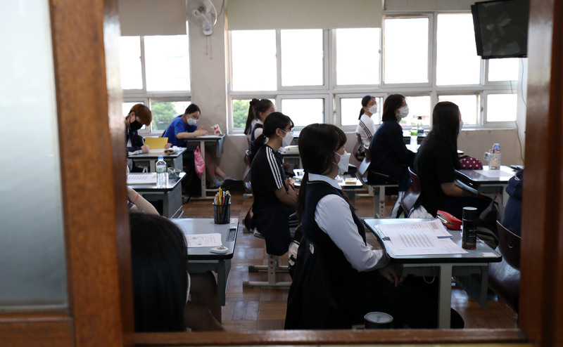 High school seniors in Busan during a class