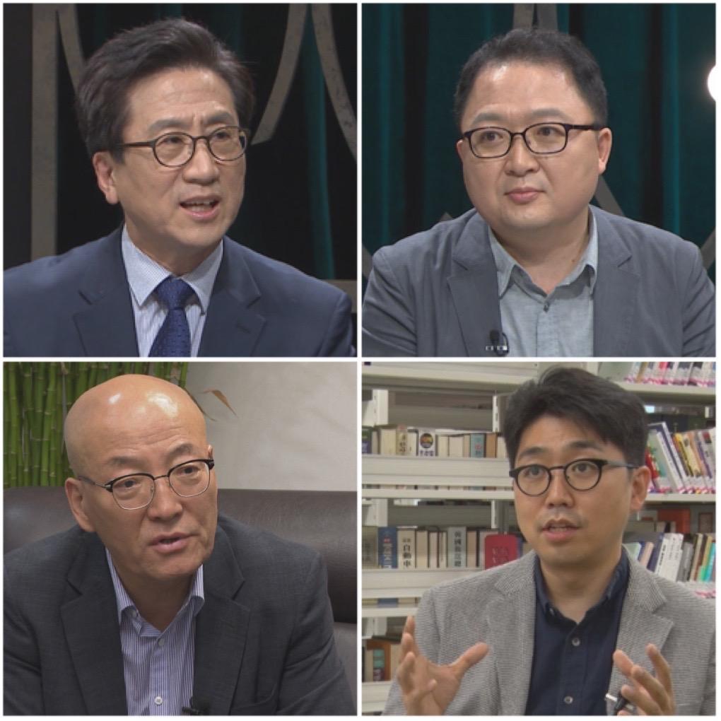 ▲ 김인회 교수, 민동기 기자, 심인보 기자, 강기석 이사장 (왼쪽 위부터 시계방향)