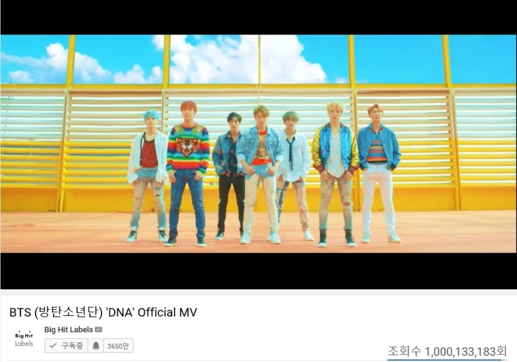 Screenshot of BTS' music video of the song DNA