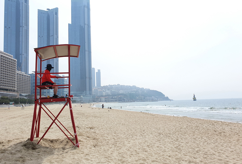 A lifeguard overlooks the beach area at Haeundae.