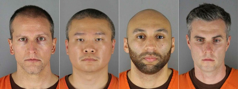 This combination of booking photos provided by the Hennepin County Jail in Minneapolis, Minnesota shows (L-R) ex-officers Derek Chauvin, Tou Thao, J. Alexander Kueng and Thomas Kiernan Lane.